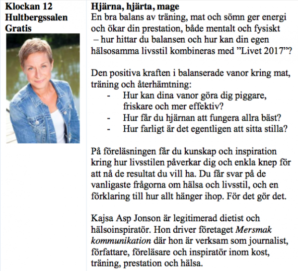 Föreläsning om kost och hälsa med Kajsa Asp Jonson